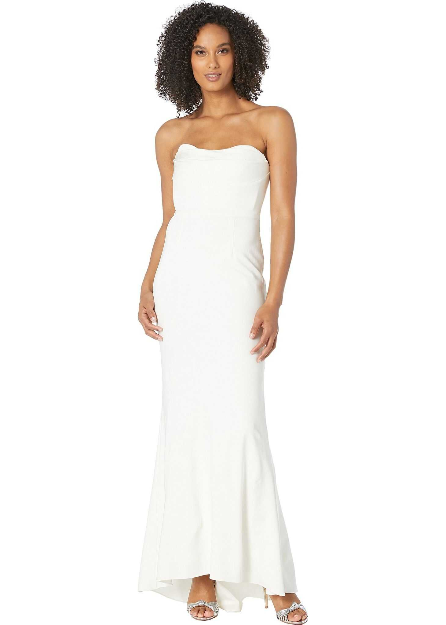 Adrianna Papell Knit Sweetheart Neckline Strapless Evening Gown Ivory