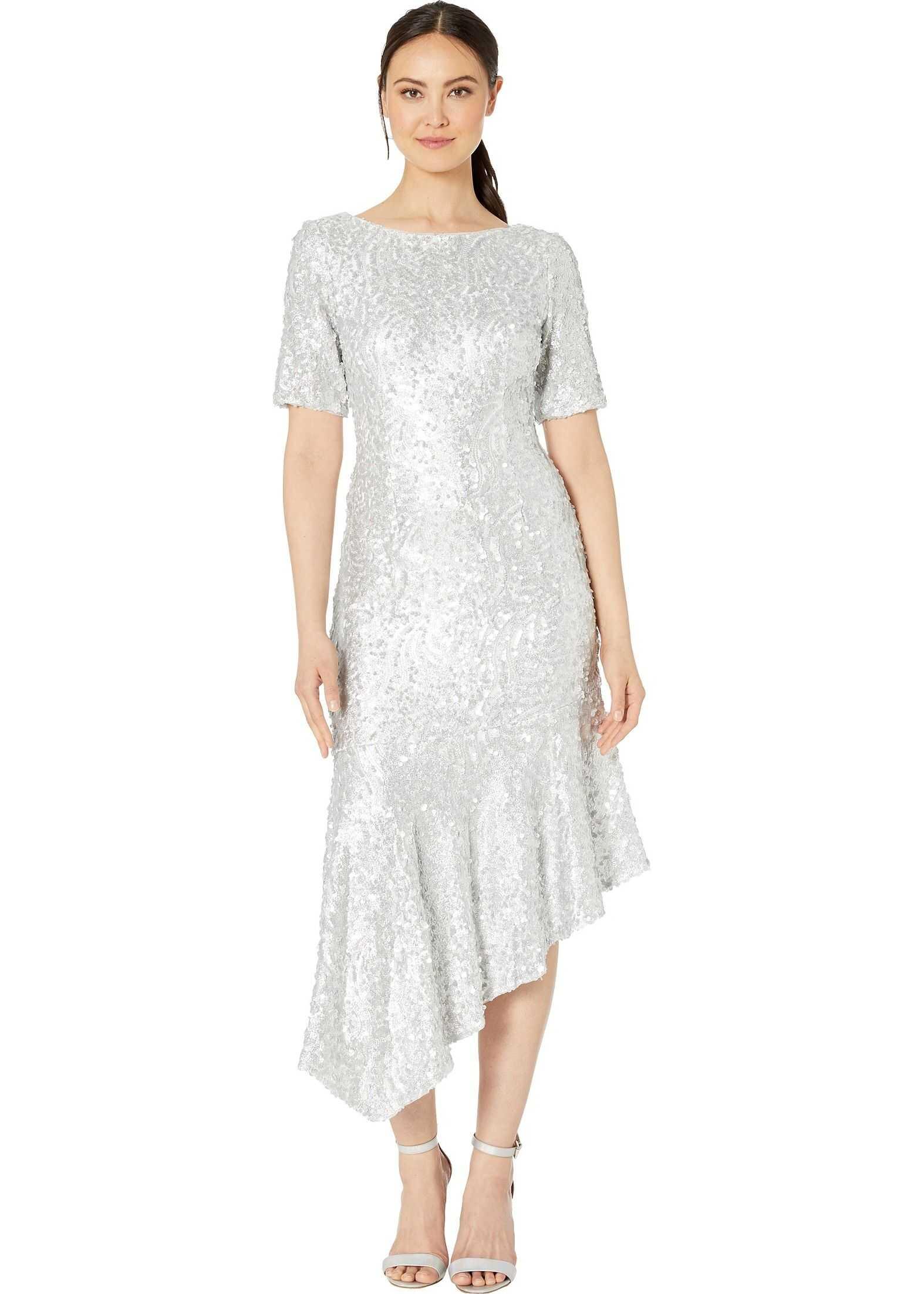 Adrianna Papell Stretch Sequin Asymmetrical Midi Dress Silver
