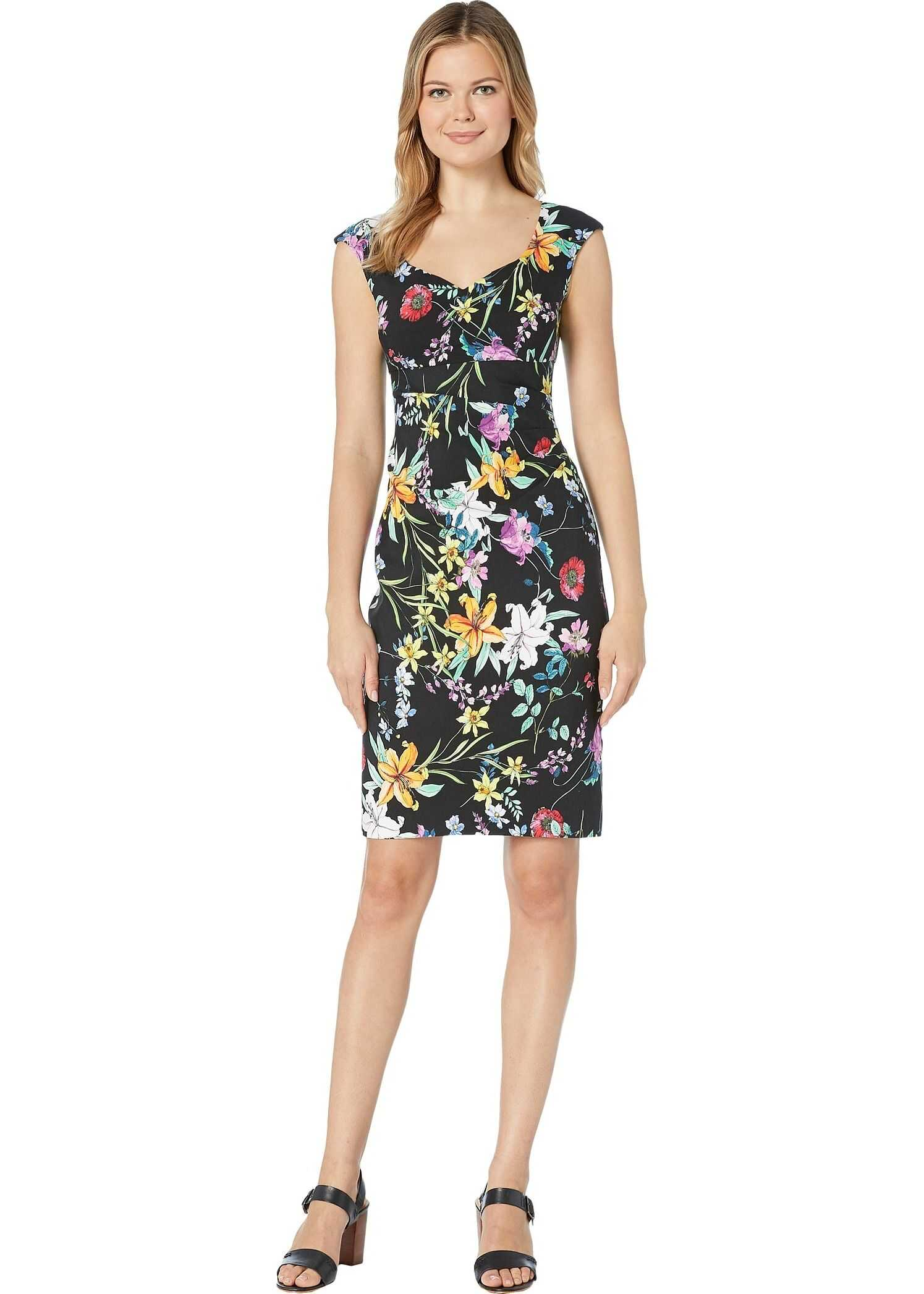 Adrianna Papell Printed Zenya Side Drape Sheath Dress Black Multi