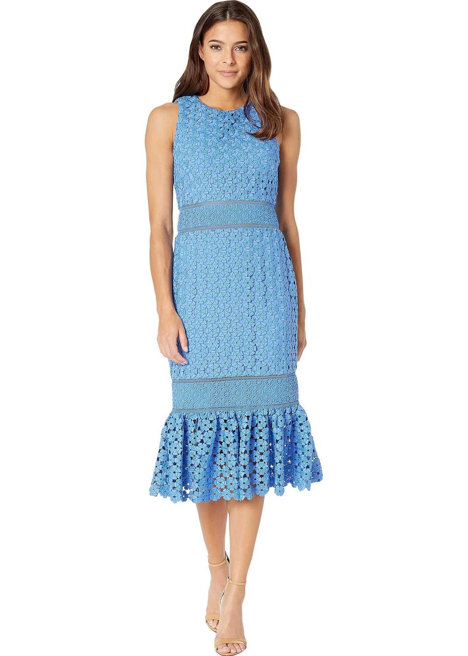 Badgley Mischka Combo Lace Flare Dress Cornflower Blue