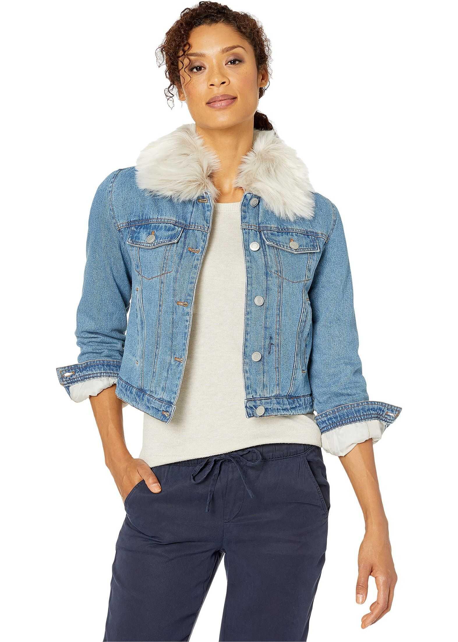 U.S. POLO ASSN. Jacket w/ Faux Fur & Sherpa Blue