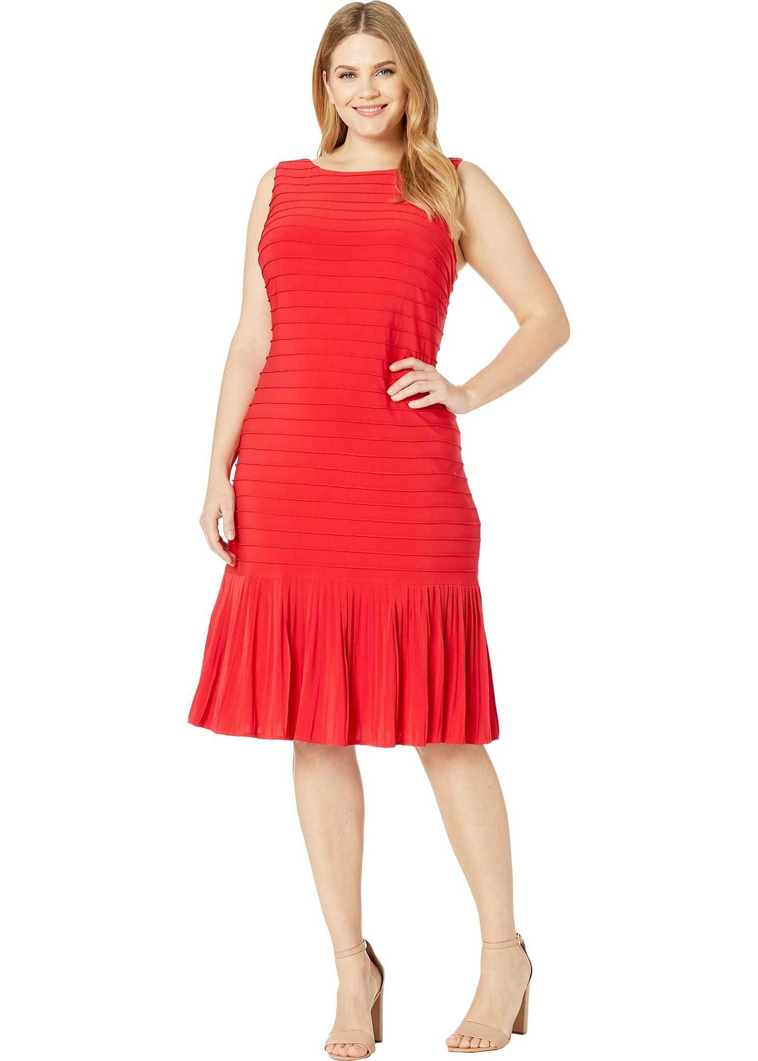 Adrianna Papell Plus Size Matte Jersey Pintucked Midi Sheath Dress with Flounced Hem Red Fire