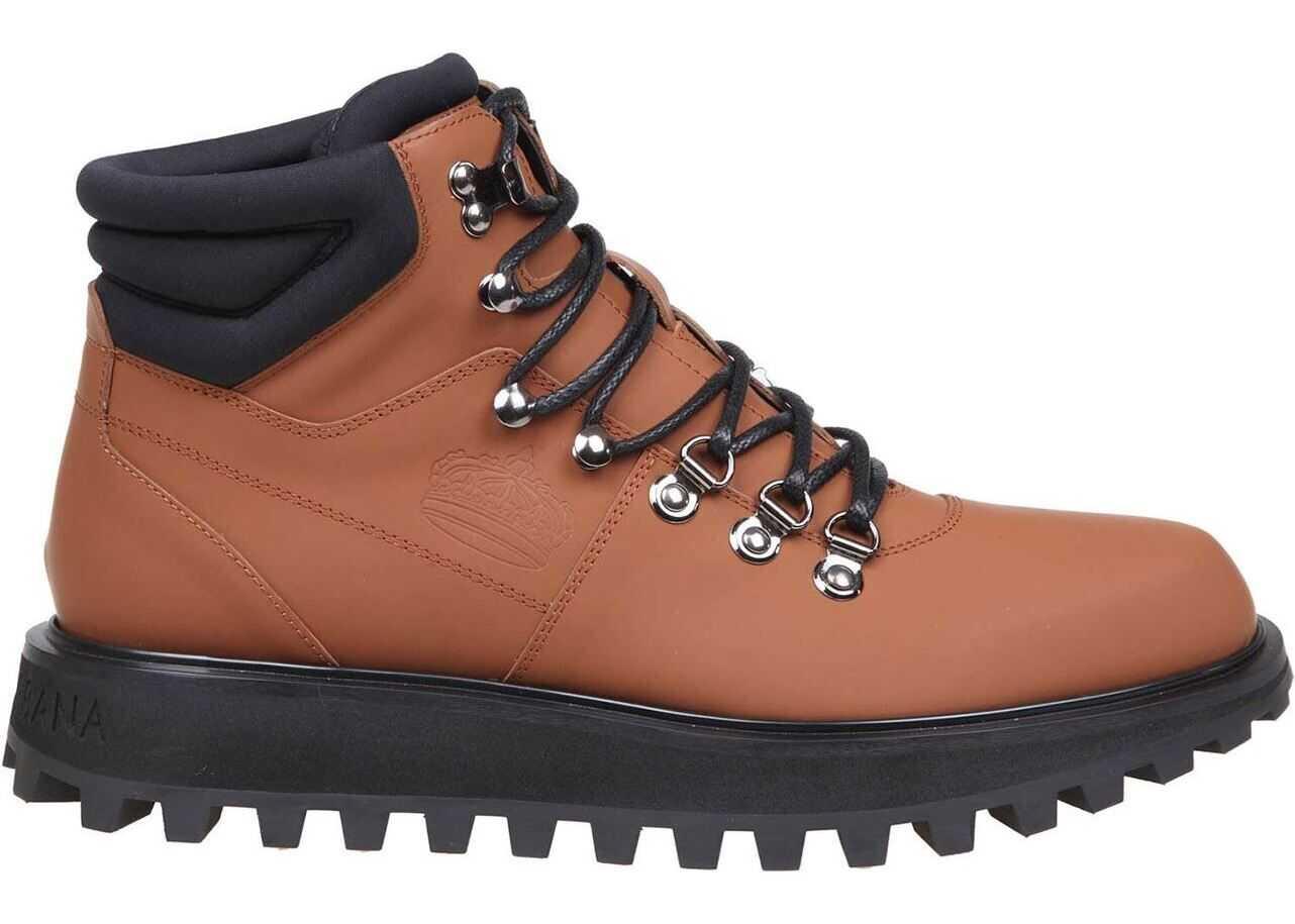 Dolce & Gabbana Trekking Boots In Brown Brown