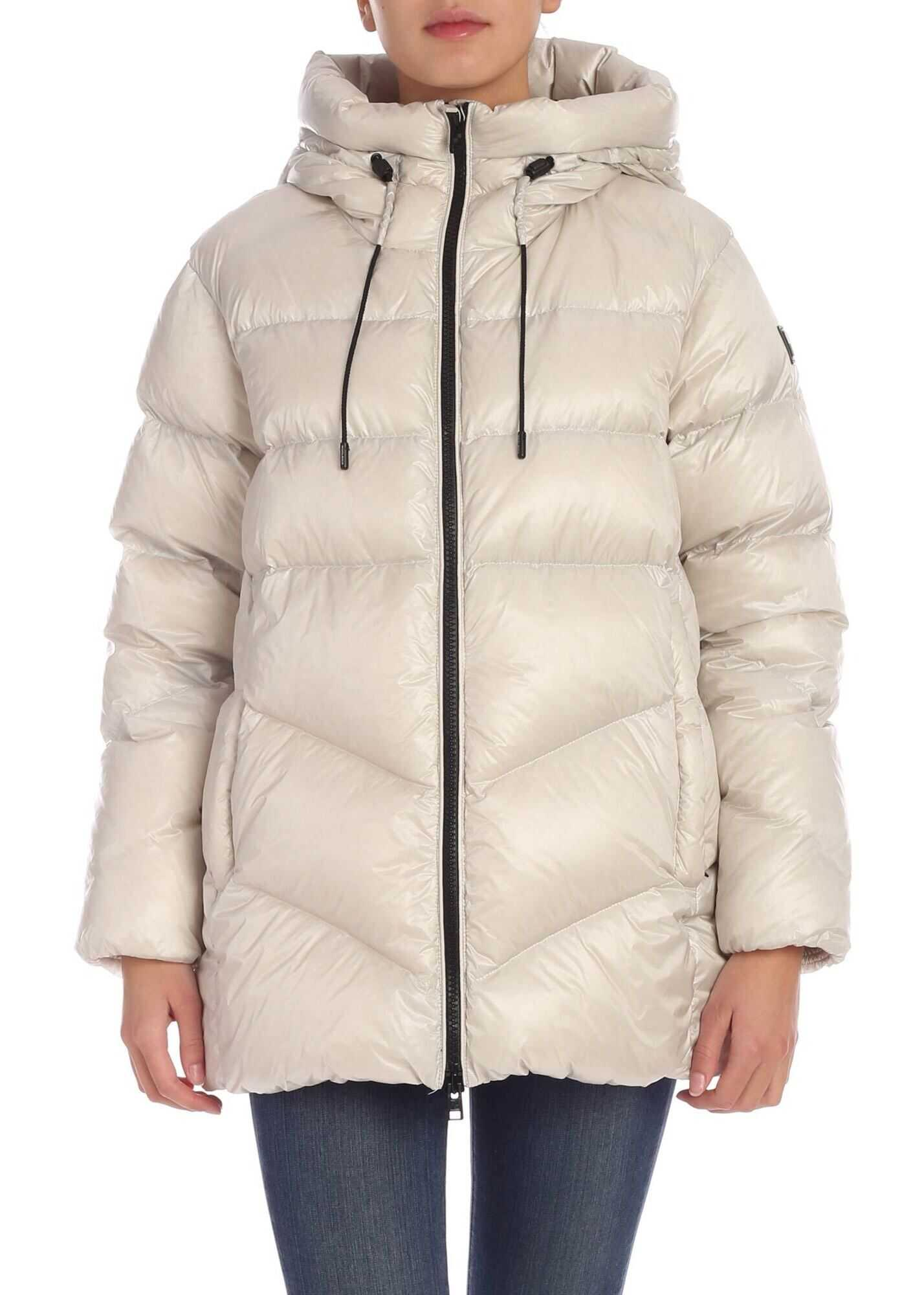 Woolrich Packable Birch Down Jacket In Ice Color Grey