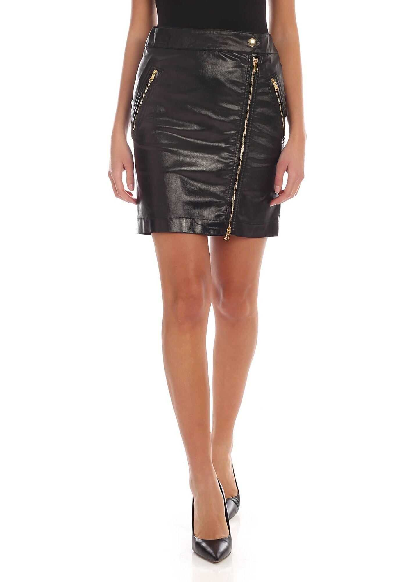 Moschino Coated Cotton Mini-Skirt With Zip Details Black