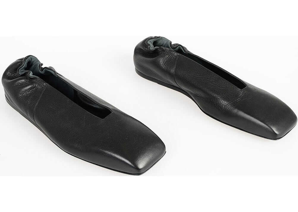 Rick Owens Leather GEOBALLERINA FLAT Ballet BLACK