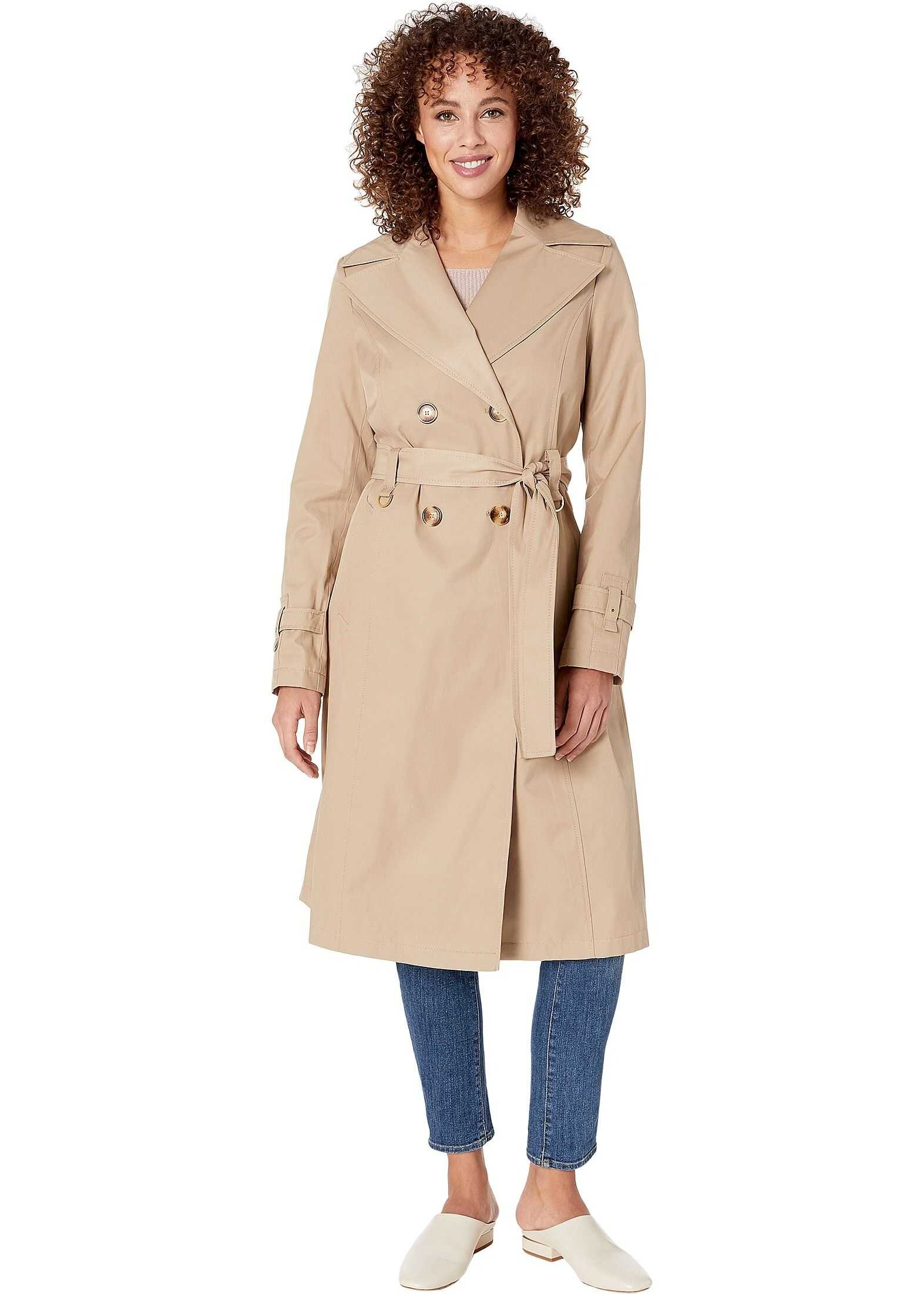 Via Spiga Double Breasted Long Trench Belted Sand