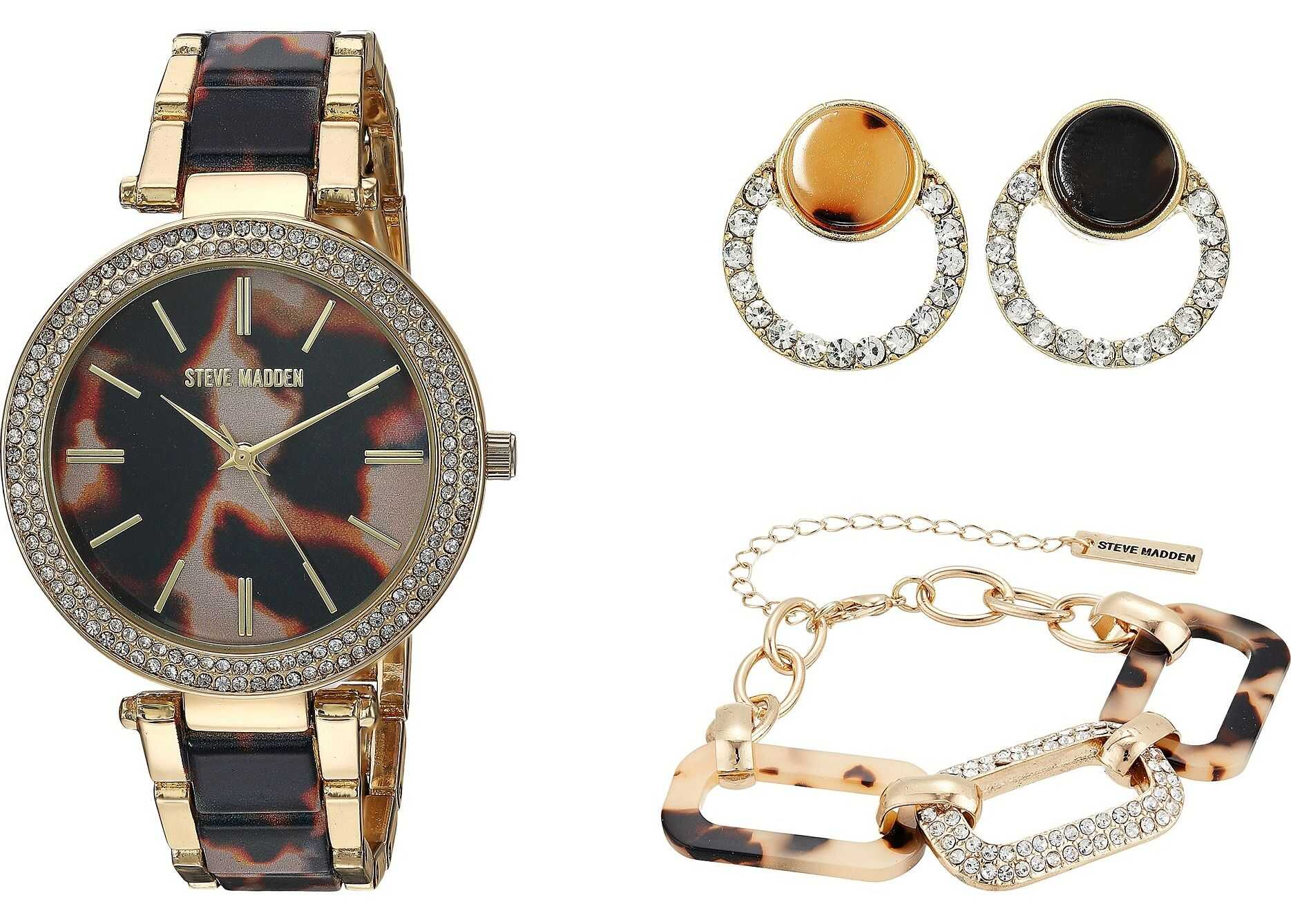 Steve Madden Bracelet, Earrings Set and Acetate Watch Set SMWS089 Gold