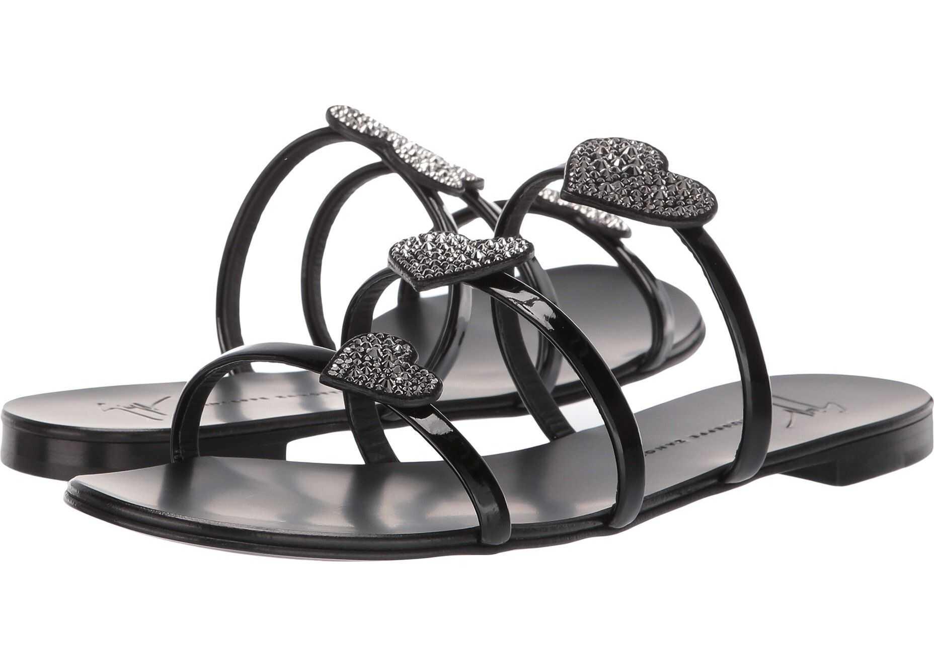 Giuseppe Zanotti Anya Love Rhinestones Sandal Vernice Nero