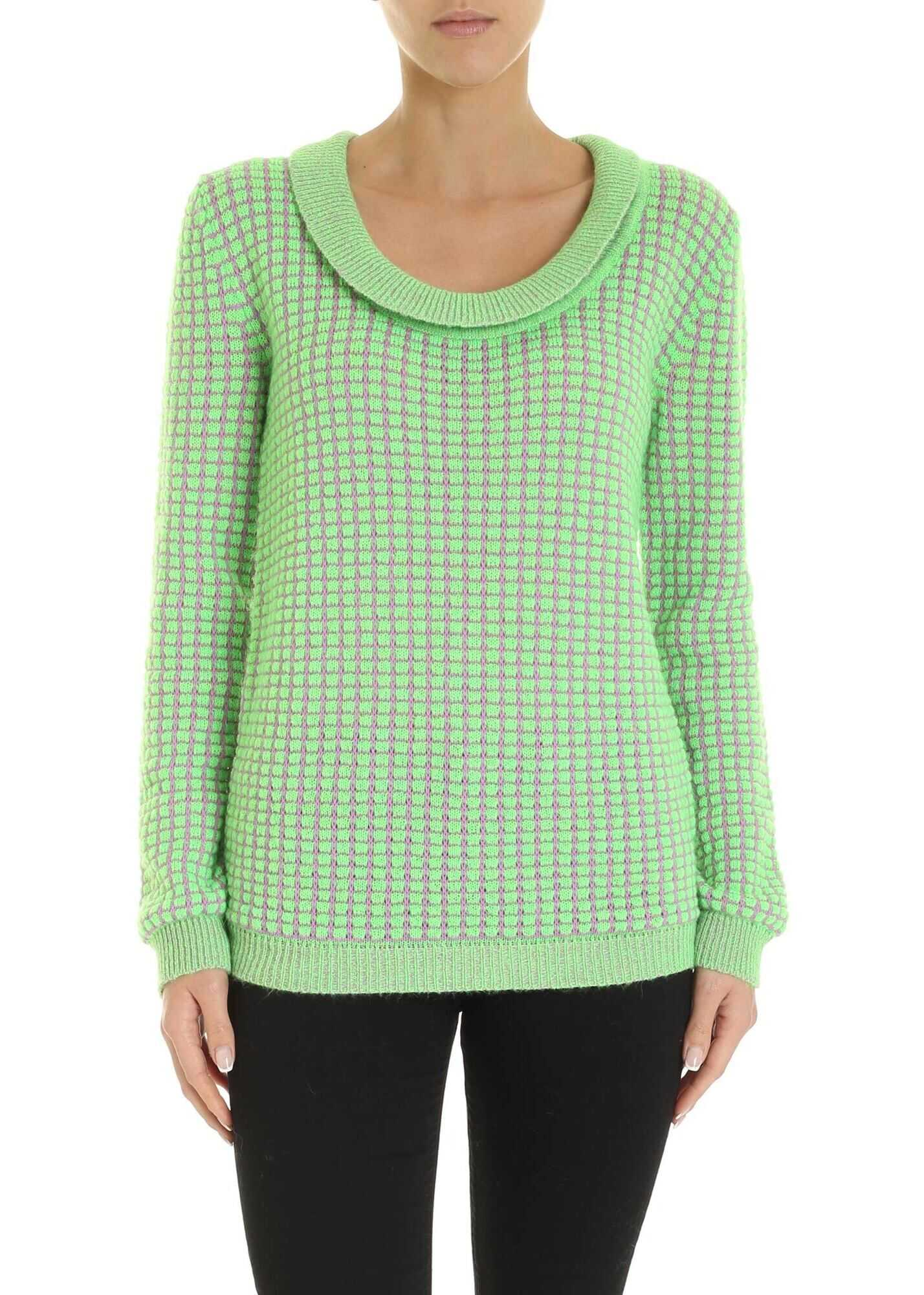 Blumarine Bouclé Pattern Pullover In Green And Pink Green