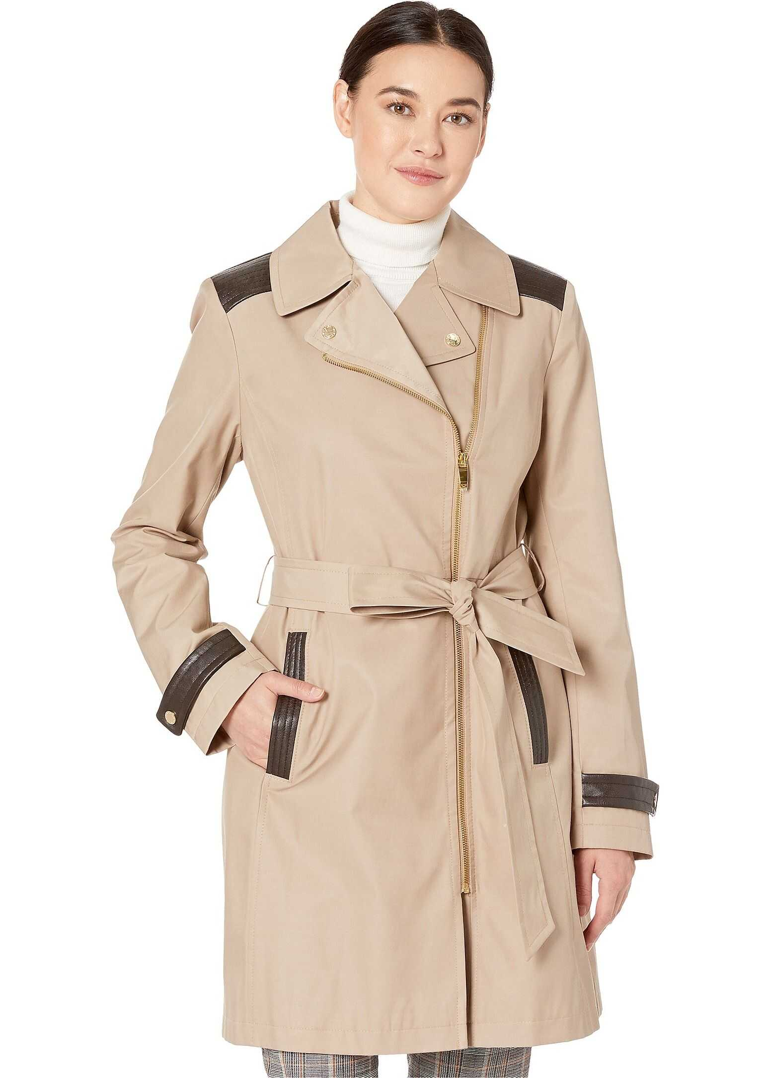 Via Spiga Asymmetrical Belted Trench with Faux Leather Detail Sand