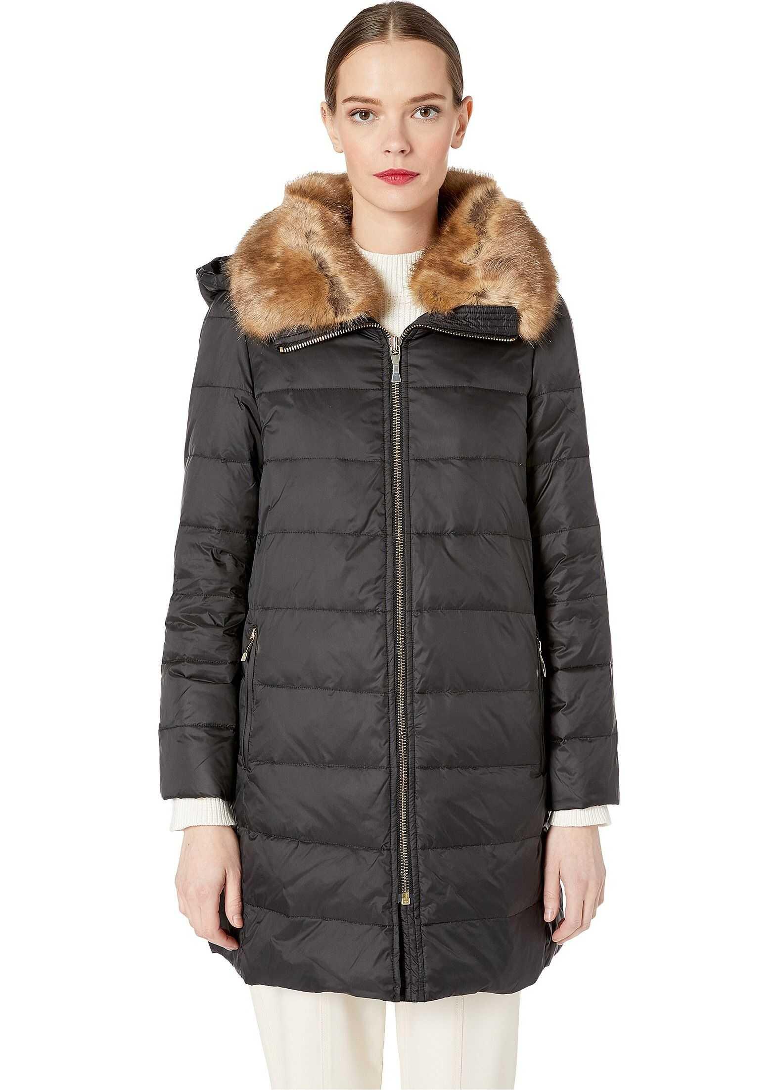 Kate Spade New York Faux Fur Puffer Jacket Black