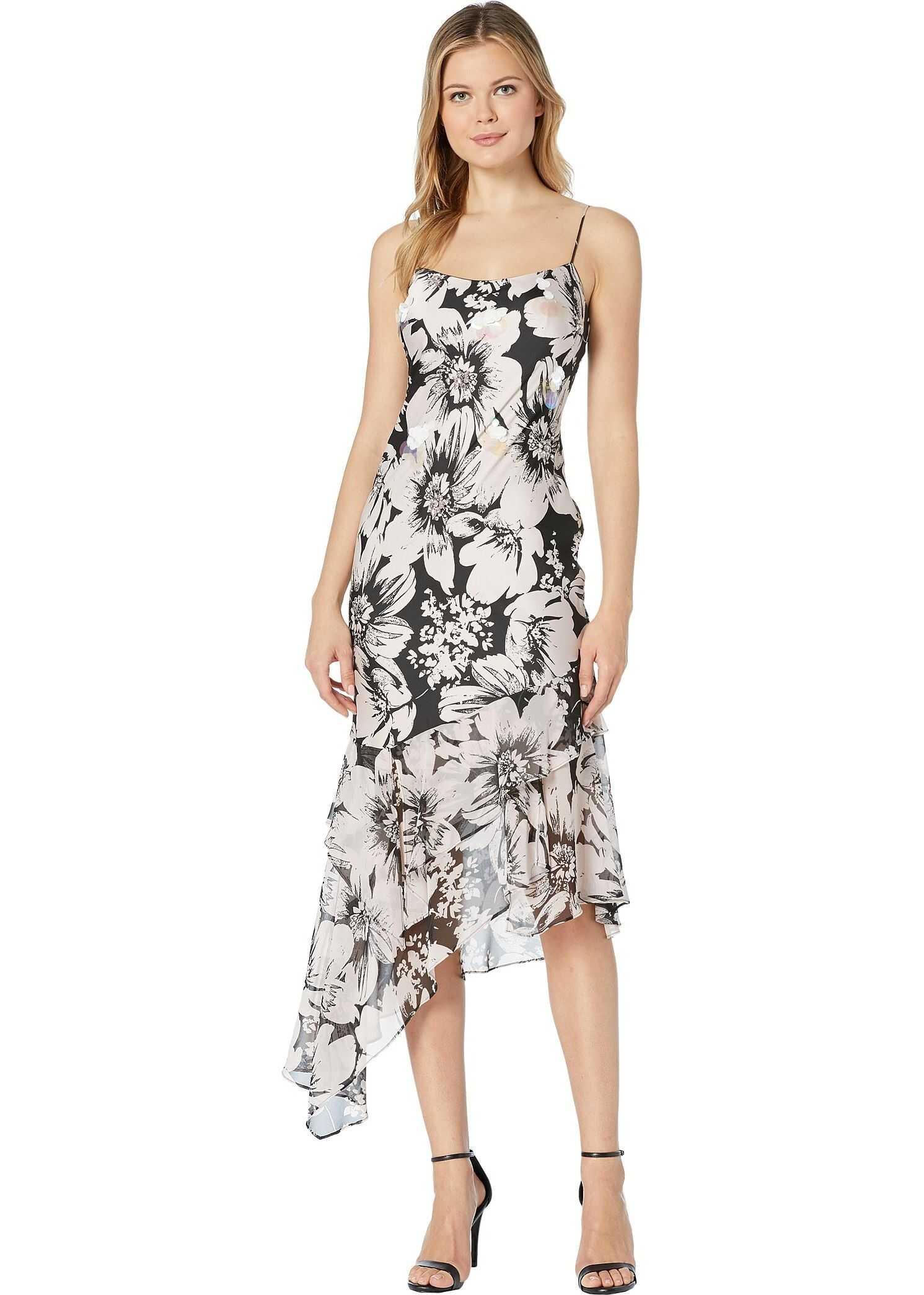 Adrianna Papell Bias Cut Floral Printed Chiffon Midi Dress Blush/Black