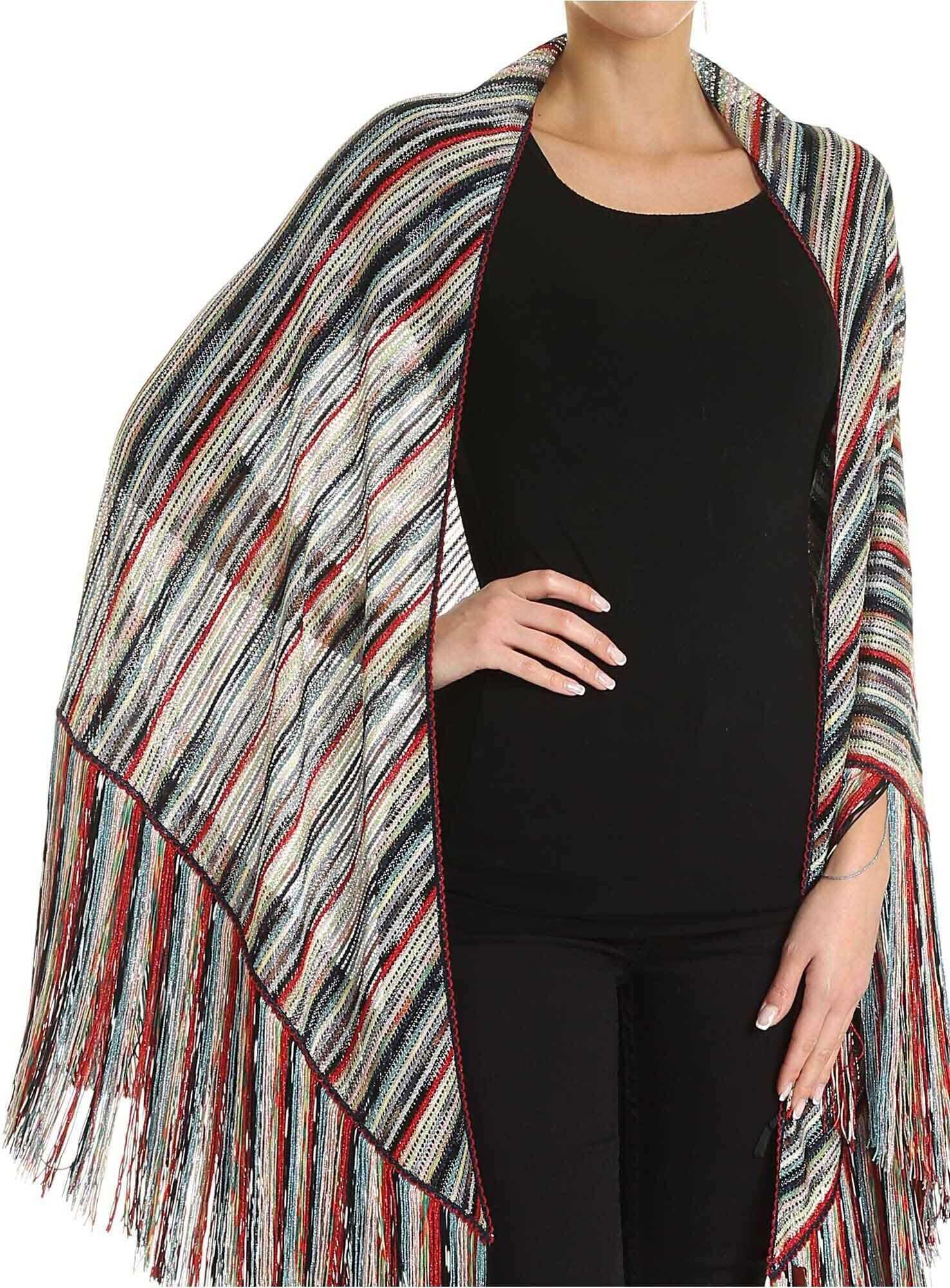 Missoni Multicolor Corduroy Striped Effect Knitted Stole Multi