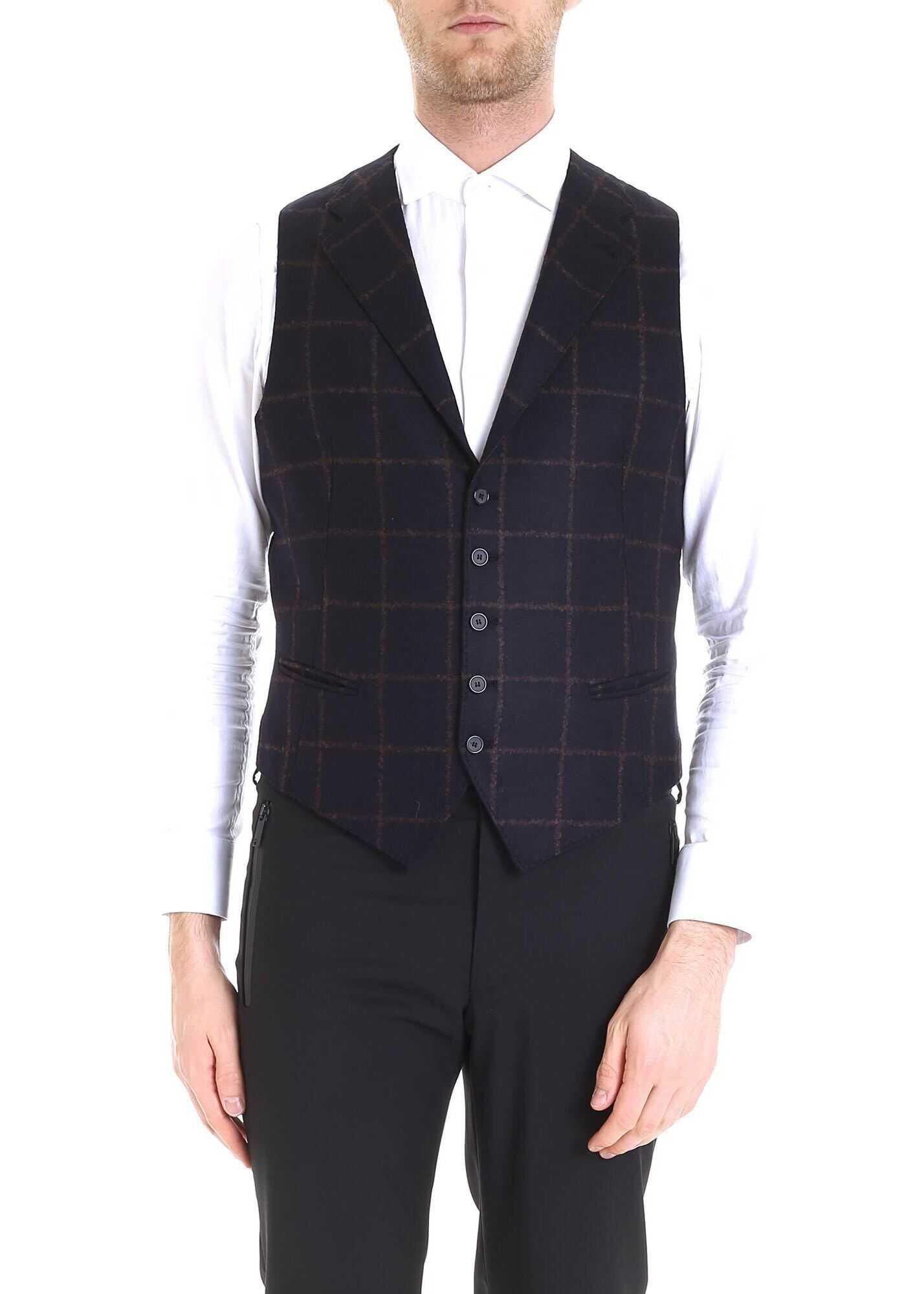 Tagliatore Dennis Checkered Pattern Vest In Blue Blue imagine
