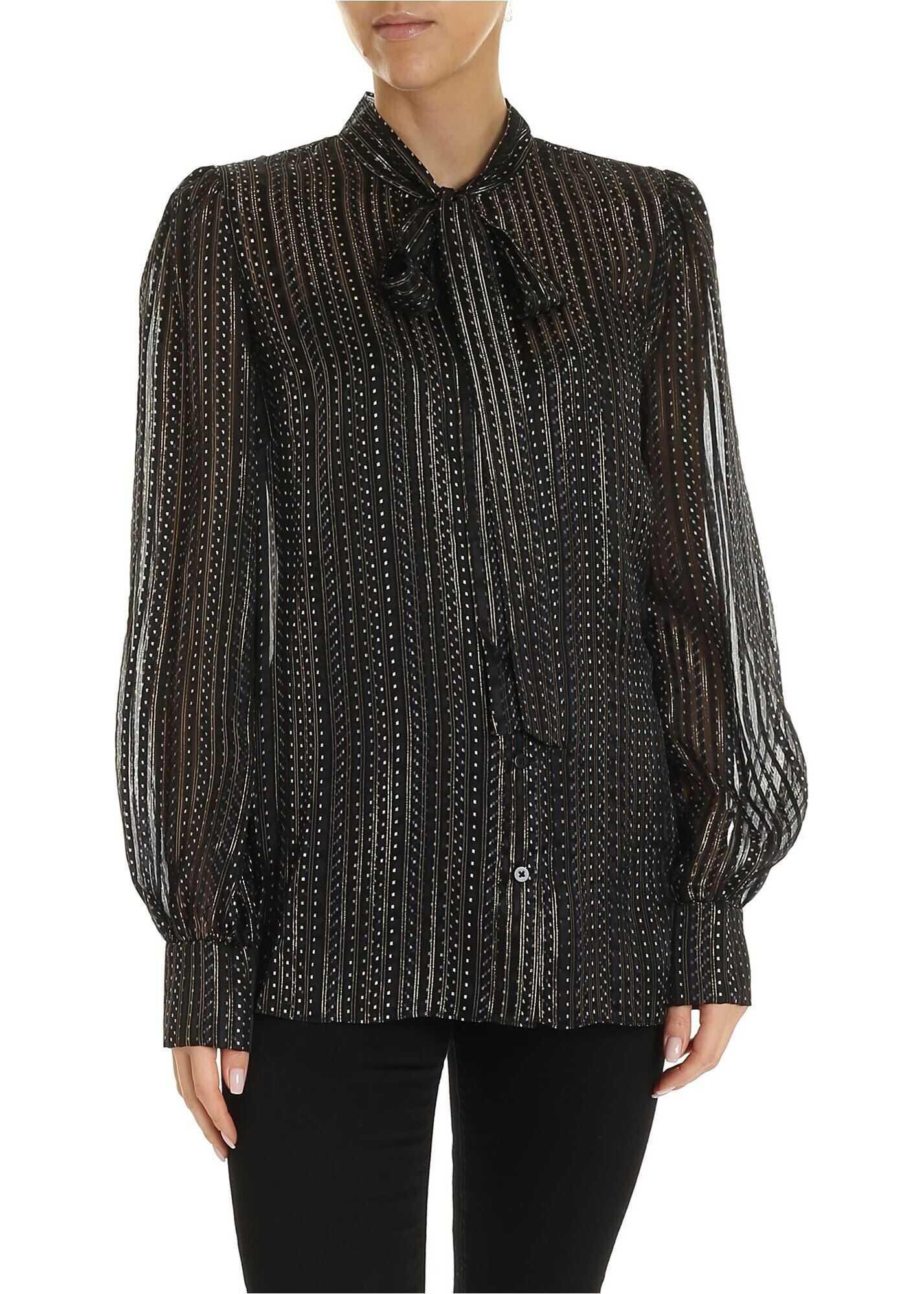 Diane von Furstenberg Lanie Shirt In Black With Golden Stripes Black