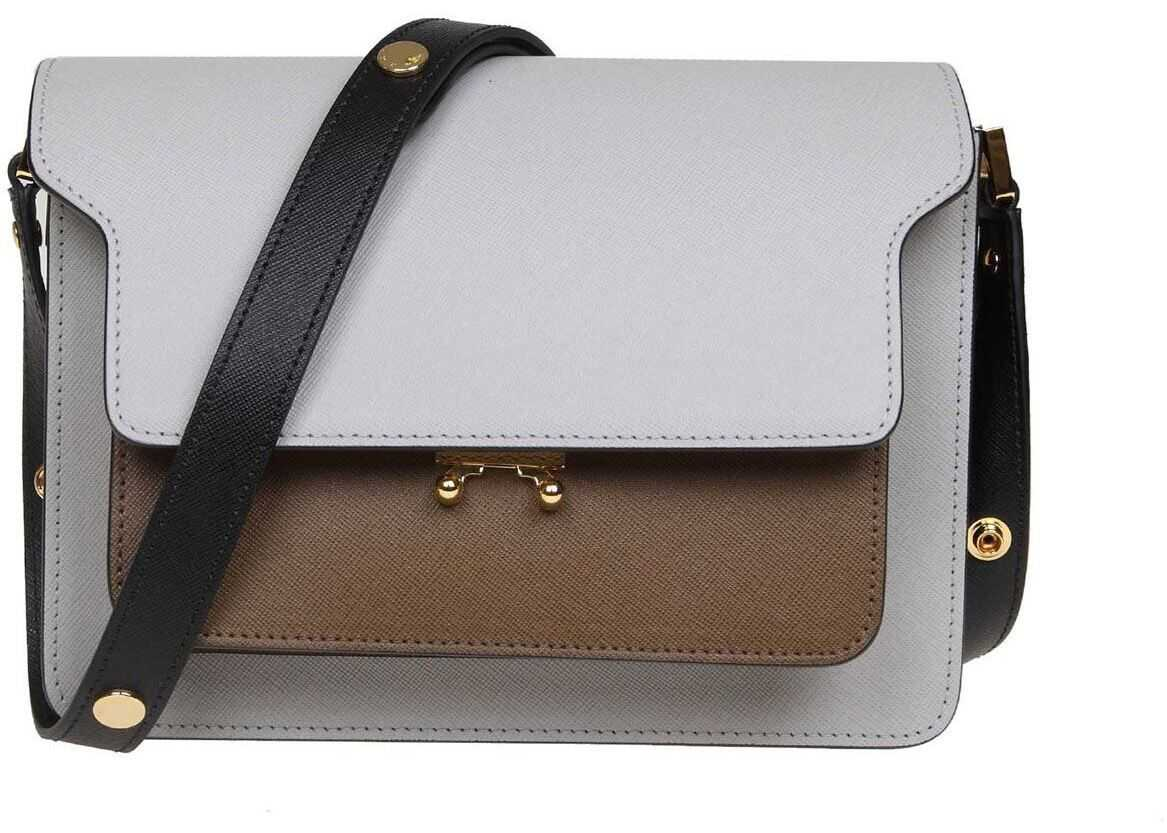 Marni Trunk Bag In Grey And Black Leather SBMPN09NO5 LV520 Z110N Grey imagine b-mall.ro
