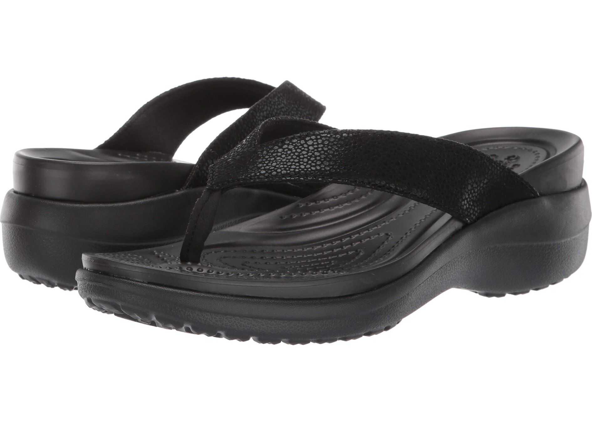 Crocs Capri Metallic Text Wedge Flip Black/Black