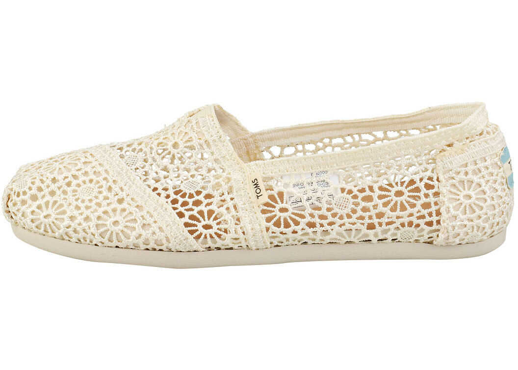 TOMS Classic Moroccan Crochet Slip On Shoes In Natural Beige