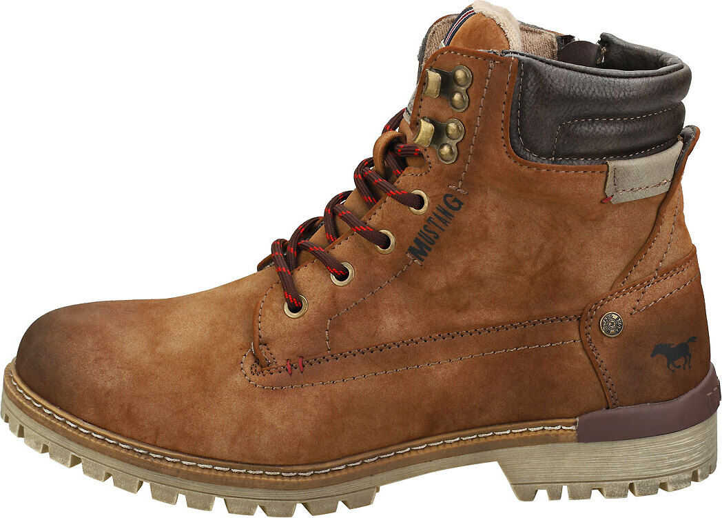 Mustang Lace Up Side Zip Chukka Boots In Brown Brown