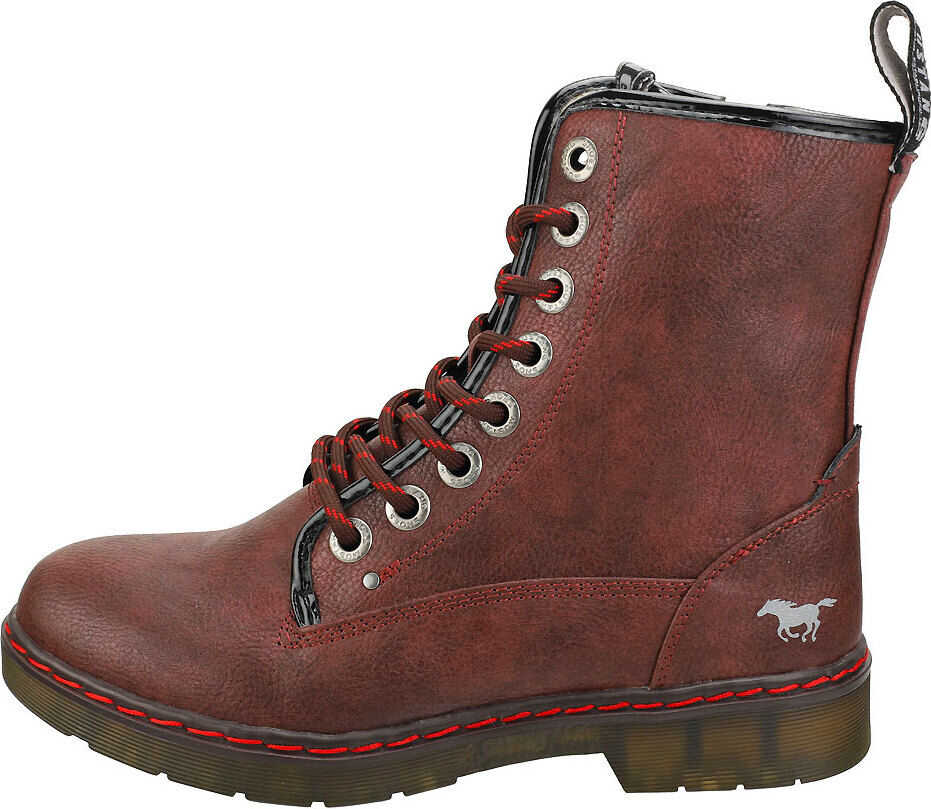 Mustang Lace Up Side Zip Ankle Boots In Burgundy Red