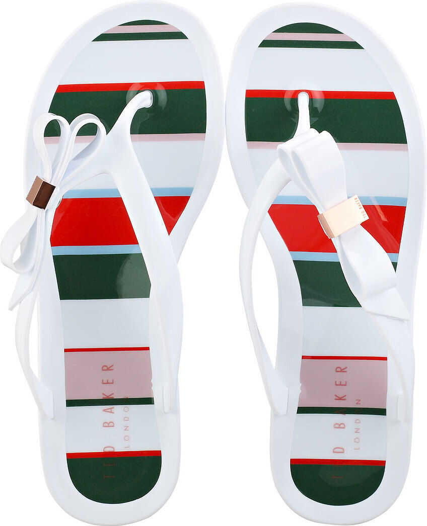 Ted Baker Suzzip Bow Detail Flip Flop Sandals In White Multicolour White