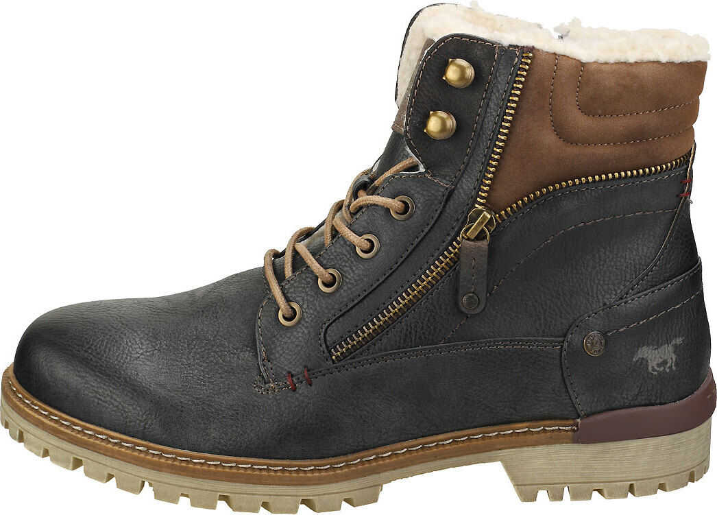 Mustang Lace Up Side Zip Chukka Boots In Graphite Grey