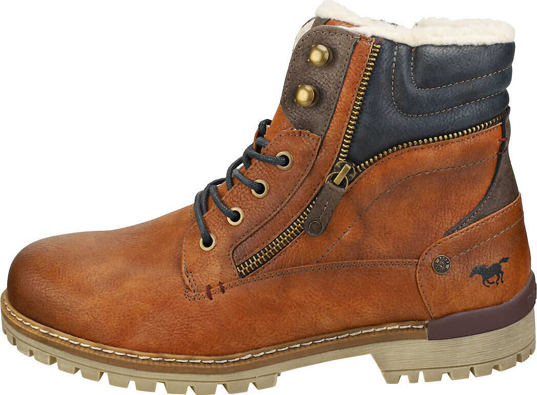 Mustang Lace Up Side Zip Chukka Boots In Cognac Brown