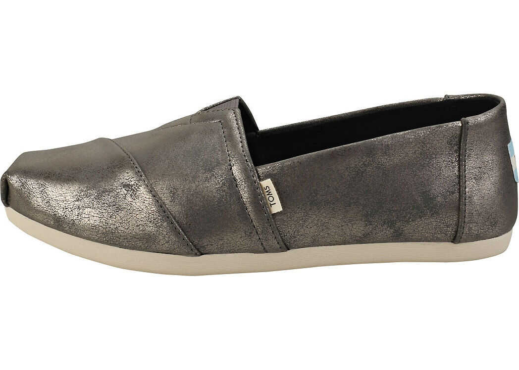TOMS Classic Forged Iron Shimmer Slip On Shoes In Silver Silver