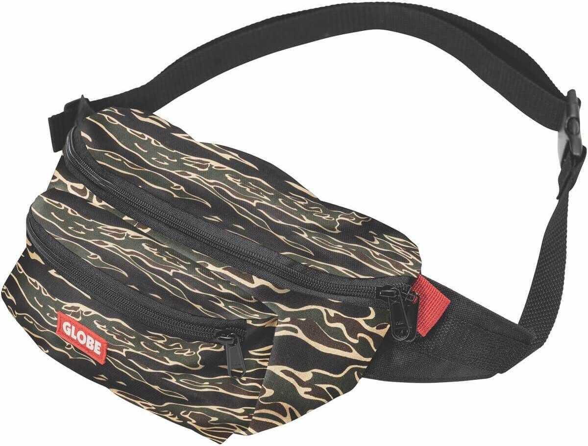 Globe Bar Waist Pack Walking Belt Bag In Black Camouflage Black