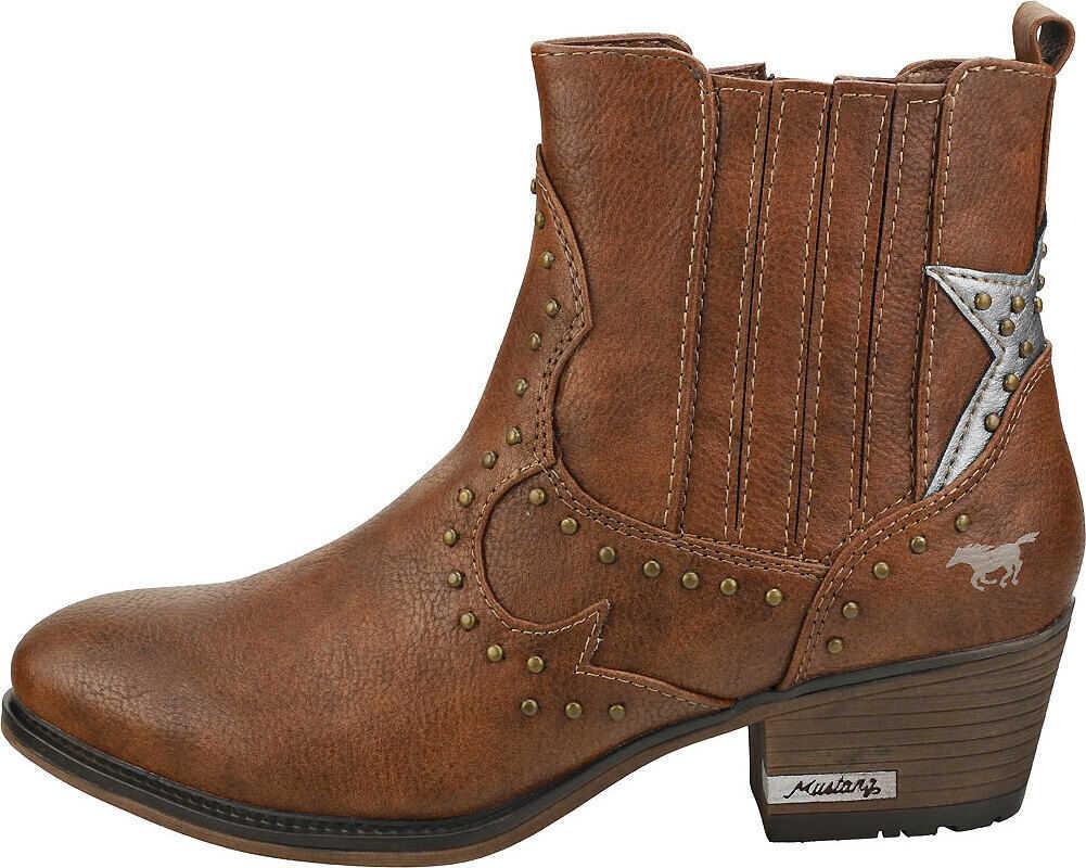 Mustang Side Zip Heel Ankle Boots In Brown Brown