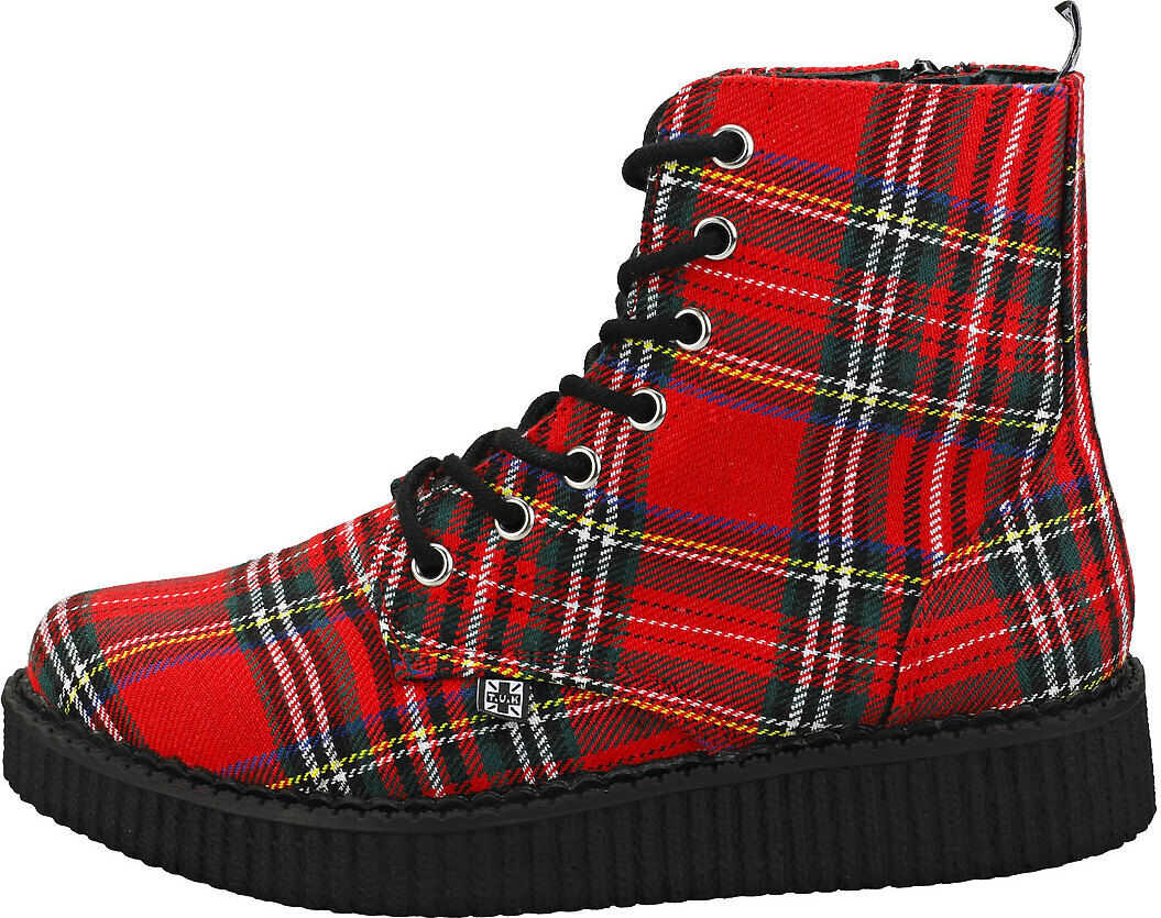 TUK T.u.k Pointed Creeper Boots In Red Tartan Red