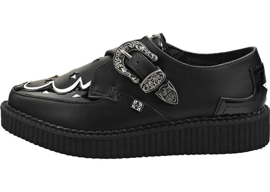 T.u.k Pointed Monk Creeper Creeper Shoes In Black White thumbnail