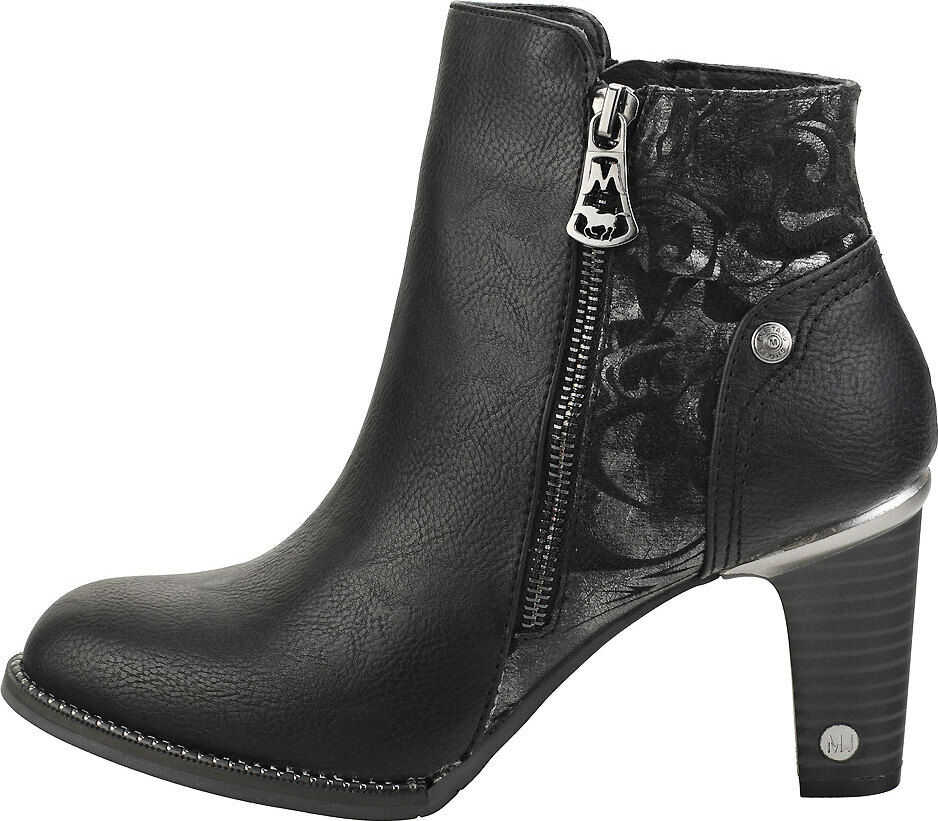 Mustang Cone Heel Ankle Boots In Black Black