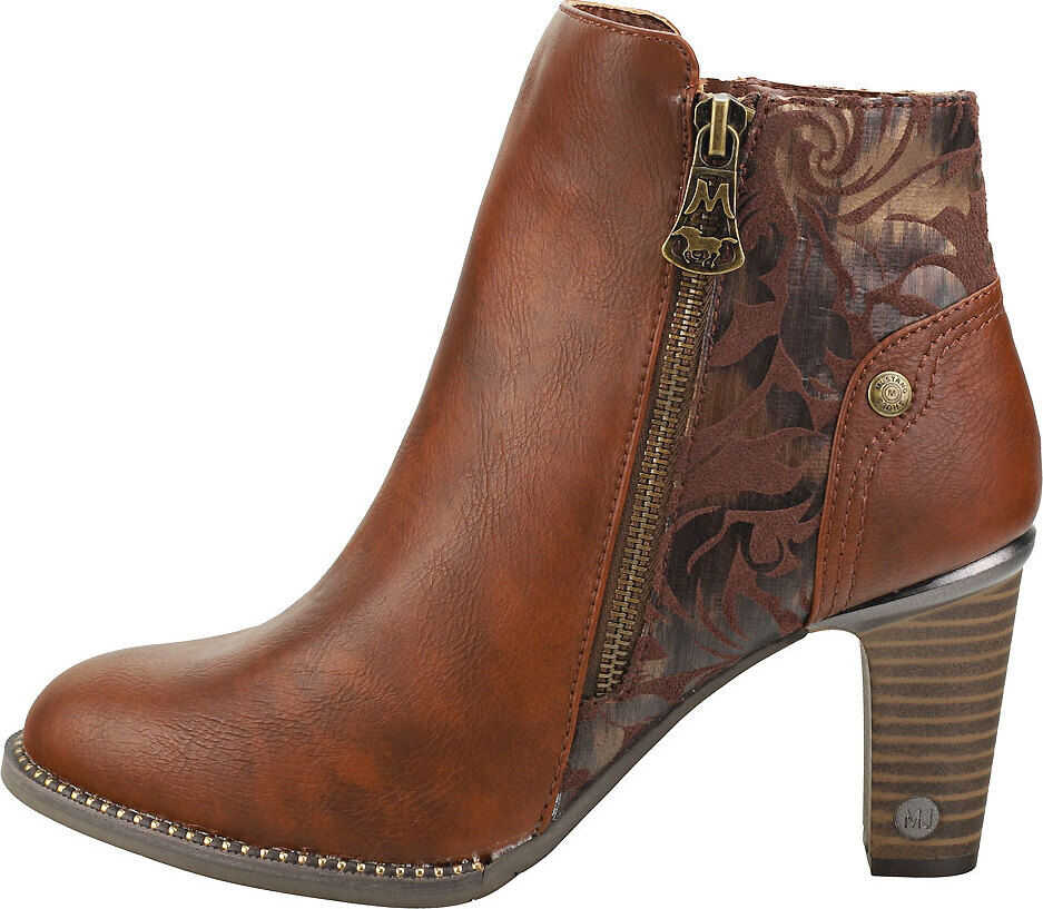 Mustang Cone Heel Ankle Boots In Chestnut Brown