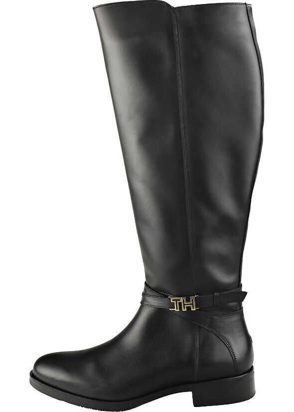 Tommy Hilfiger Hardweare Leather Knee High Boots In Black Black