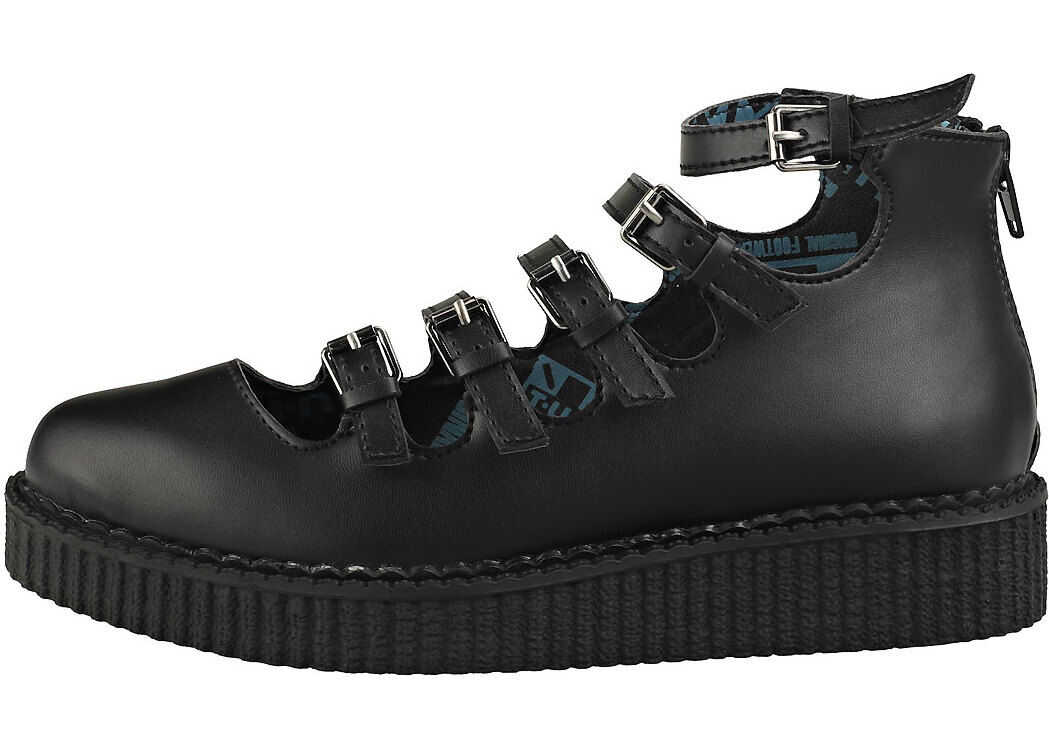 T.u.k Pointed Creeper Multi Strap Creeper Shoes In Black thumbnail