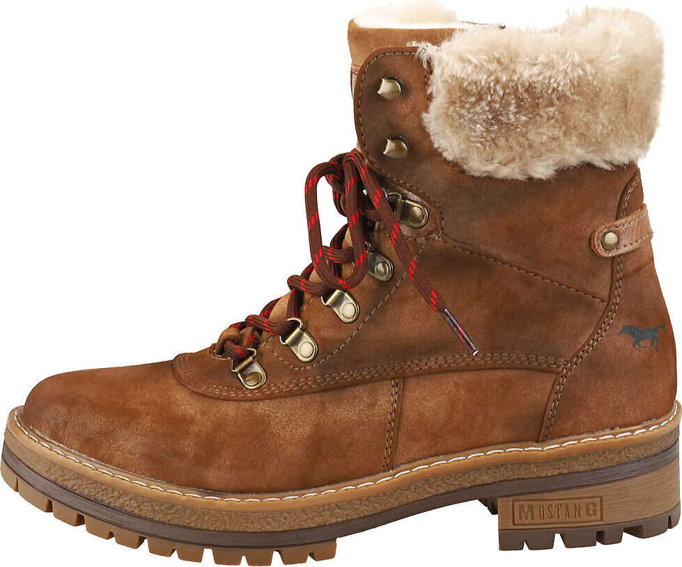 Mustang Lace Up Side Zip Warm Lining Ankle Boots In Brown Brown