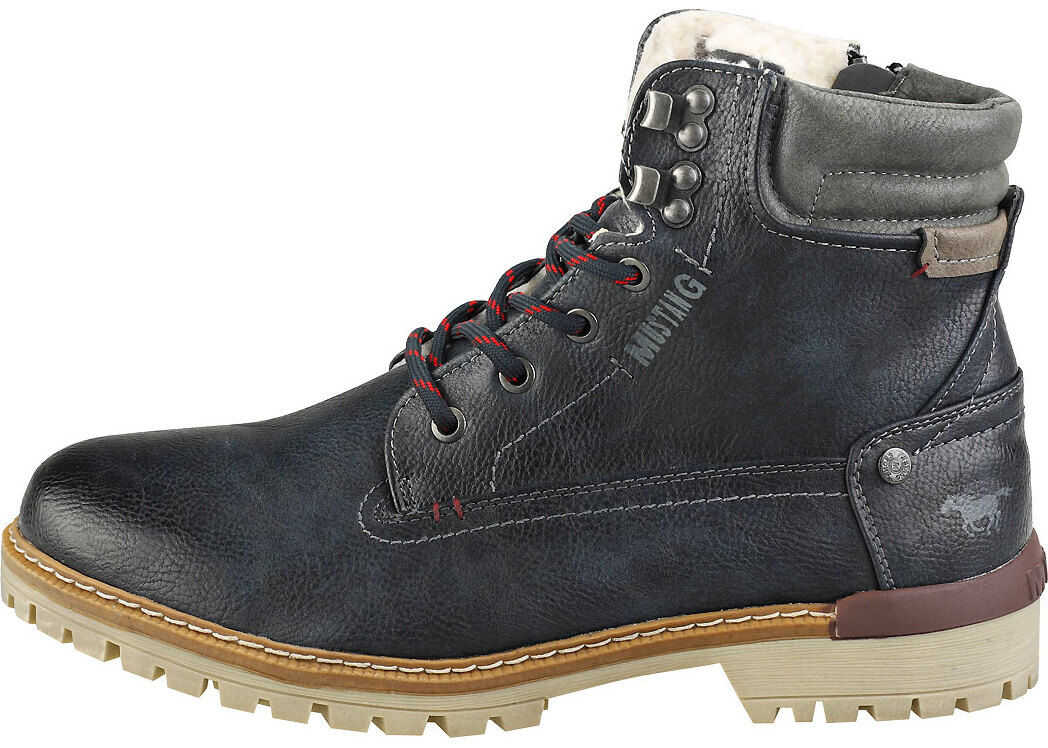 Mustang Lace Up Side Zip Chukka Boots In Navy Blue