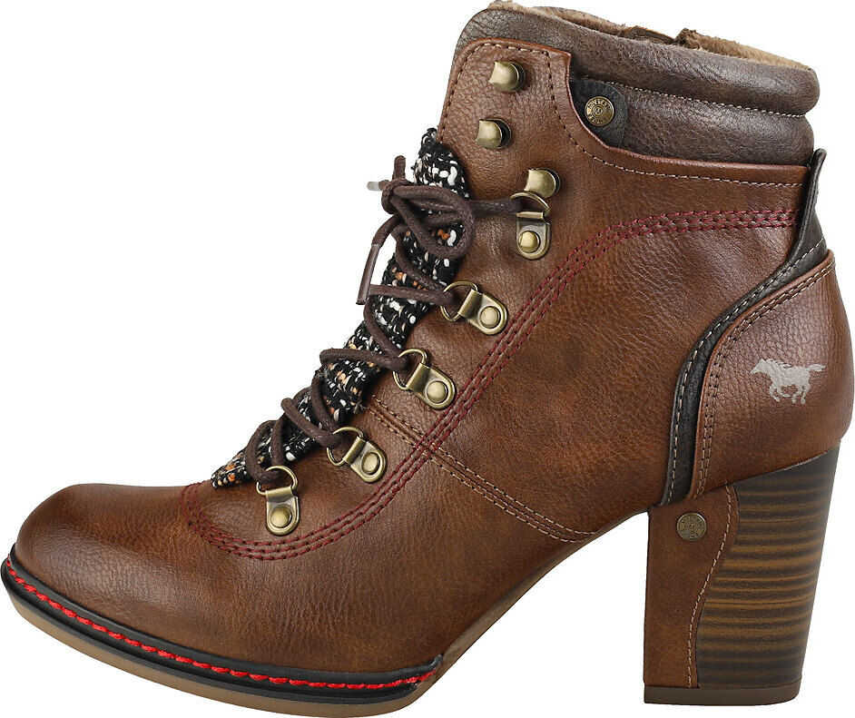 Mustang Stylish Heel Ankle Boots In Brown Brown