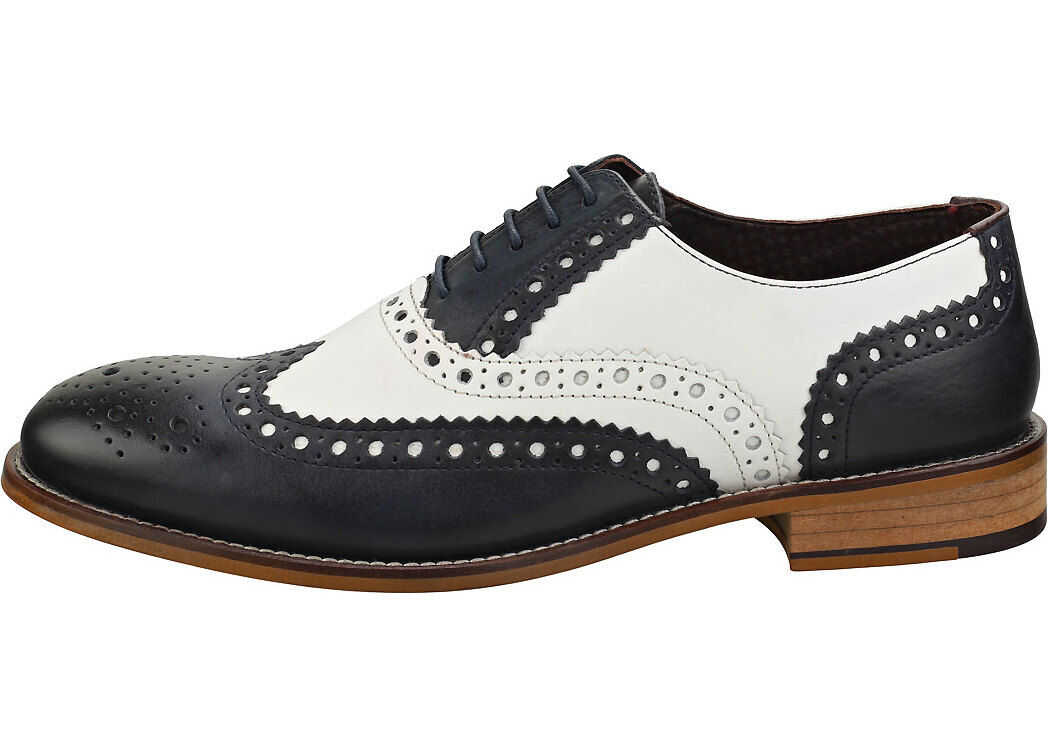 London Brogues Gatsby Brogue Shoes In Navy White Blue