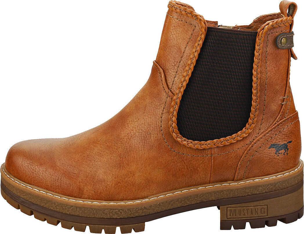 Mustang Side Zip Low Heel Chelsea Boots In Cognac Brown