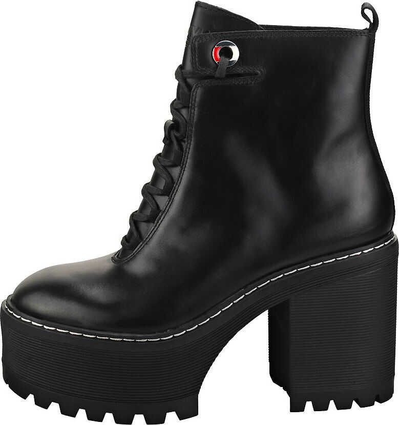 Tommy Jeans Lace Up Cleated Heel Casual Boots In Black Black