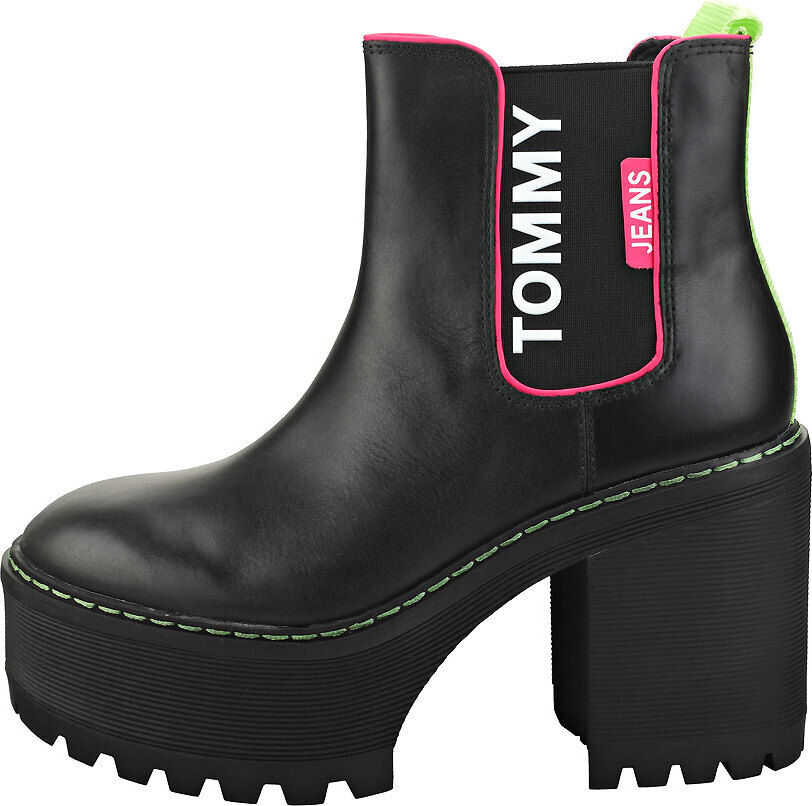 Tommy Jeans Chelsea Cleated Heel Chelsea Boots In Black Black