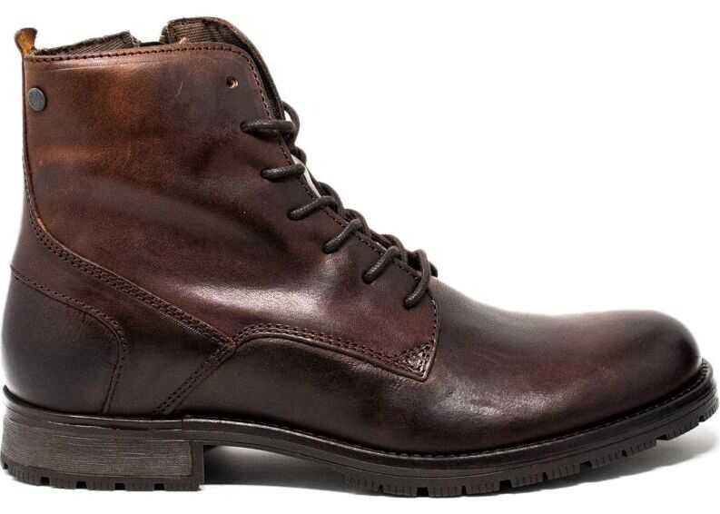 JACK & JONES Leather Ankle Boots BROWN