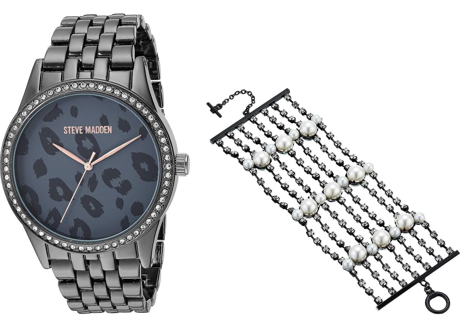 Steve Madden Pearl Bracelet and Animal Print Watch Set SMWS073 Black