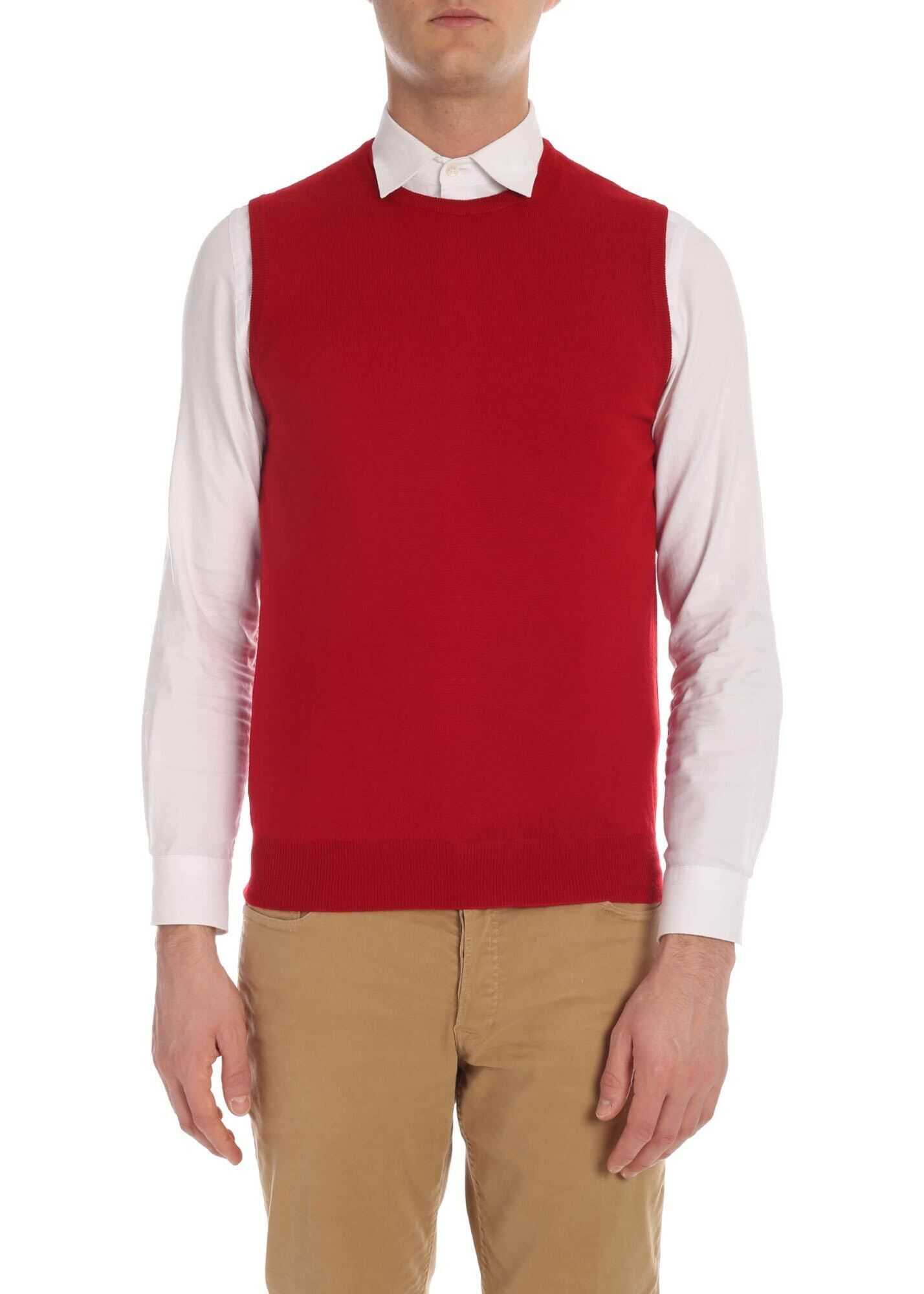 Knitted Vest In Red thumbnail