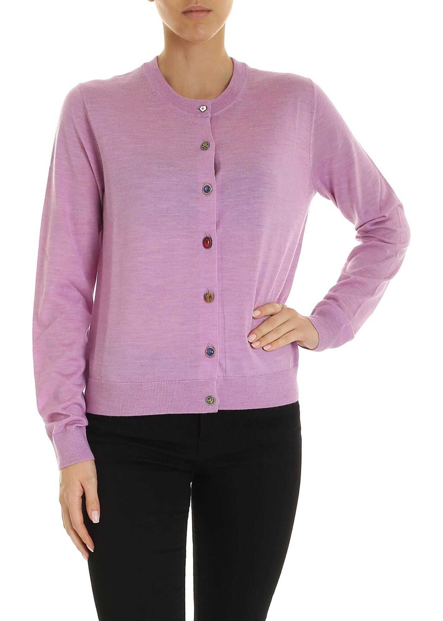Unpaired Buttons Cardigan In Lilac thumbnail