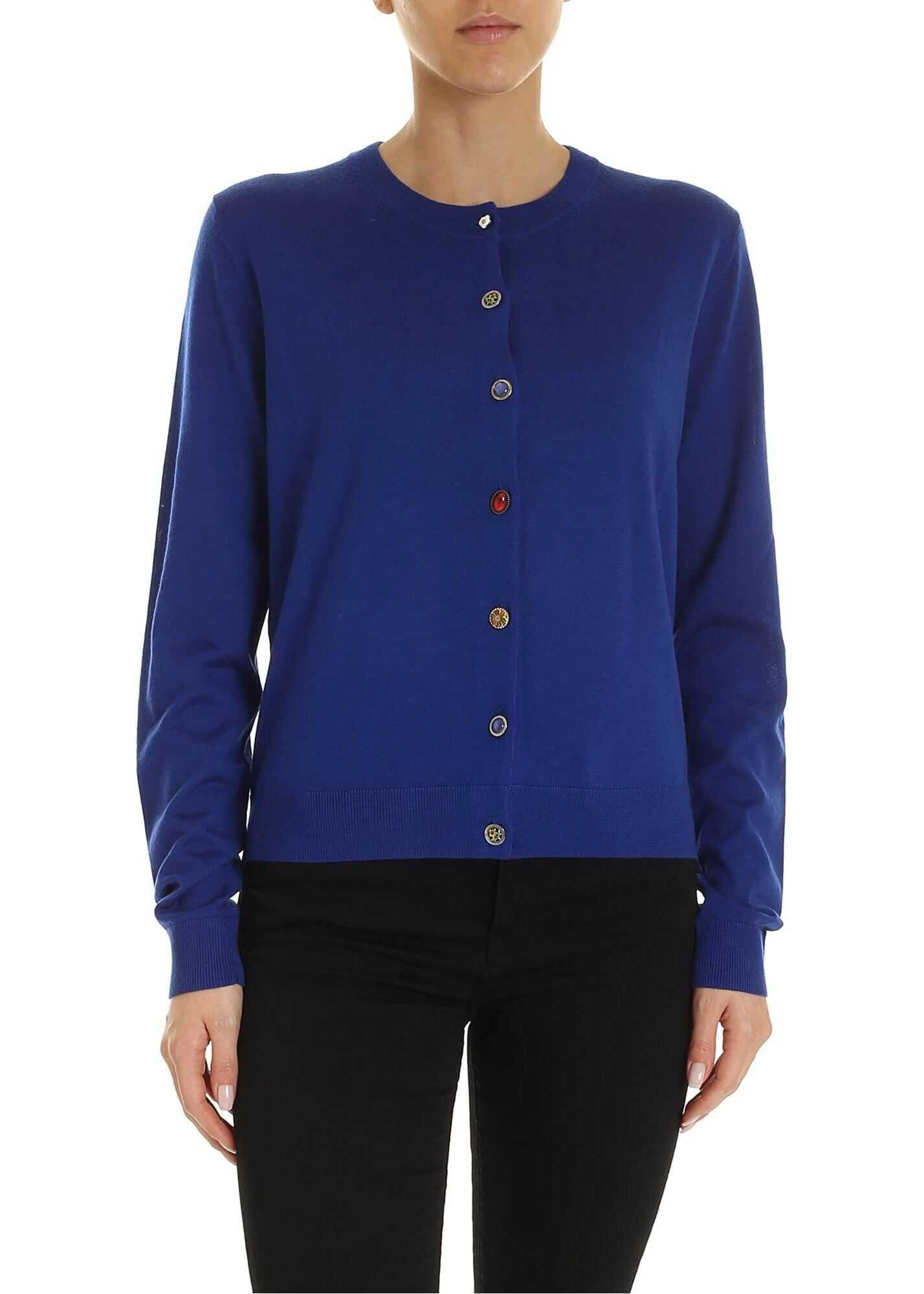PS by Paul Smith Unpaired Buttons Cardigan In Blue Blue
