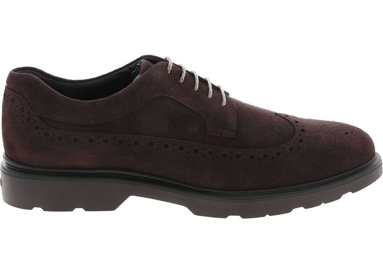 H393 Suede Leather Derby In Brown thumbnail